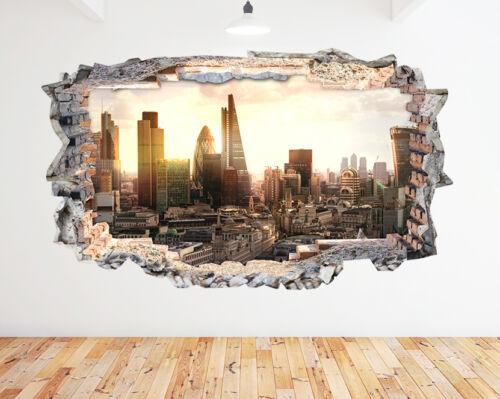 Autocollants Muraux City Skyline London Business Smashed Decal 3D Art Vinyle Pièce N412