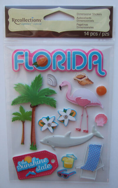FLORIDA Recollections Dimensional Stickers; Beaches, The Sunshine State, Miami