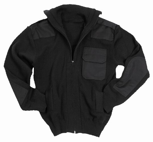 Ejército Negro Estilo Full Zip Cárdigan - Lana Saltador Parte Superior Militar