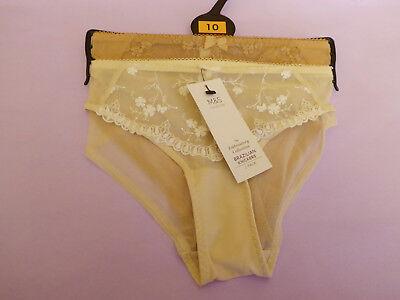 M/&S Size 14 Briefs Knickers Bikini X3 Pairs Nude Almond Bnwt