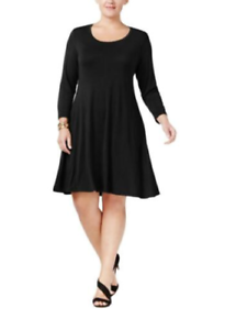 Style-amp-Co-Womens-2X-Solid-Black-3-4-Sleeve-Scoop-Neck-Fit-Flare-Knit-Dress-NEW