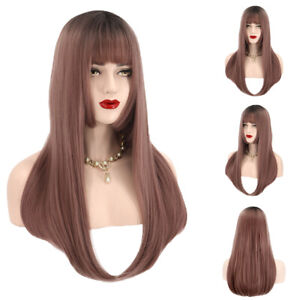 Women-Long-Brown-Straight-Cosplay-Fashion-Wig-Hair-Neat-Bang-Full-Wigs-Resistant