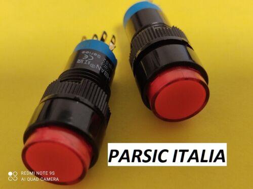 Pulsante D=12mm momentaneo in plastica con LED ROSSO 12V 1NA1NC QTY: 2 PEZZI