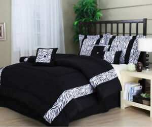 Black White Zebra Animal Print 7 Piece Comforter Bedding