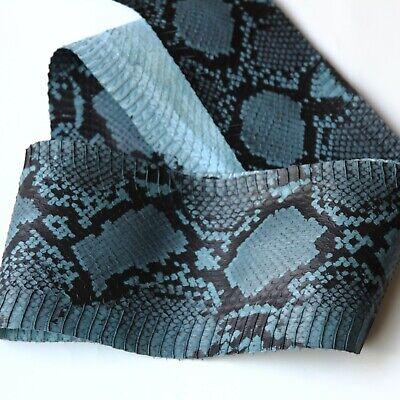 Genuine Snake Skin Snakeskin Burmese Python Print Electric Blue
