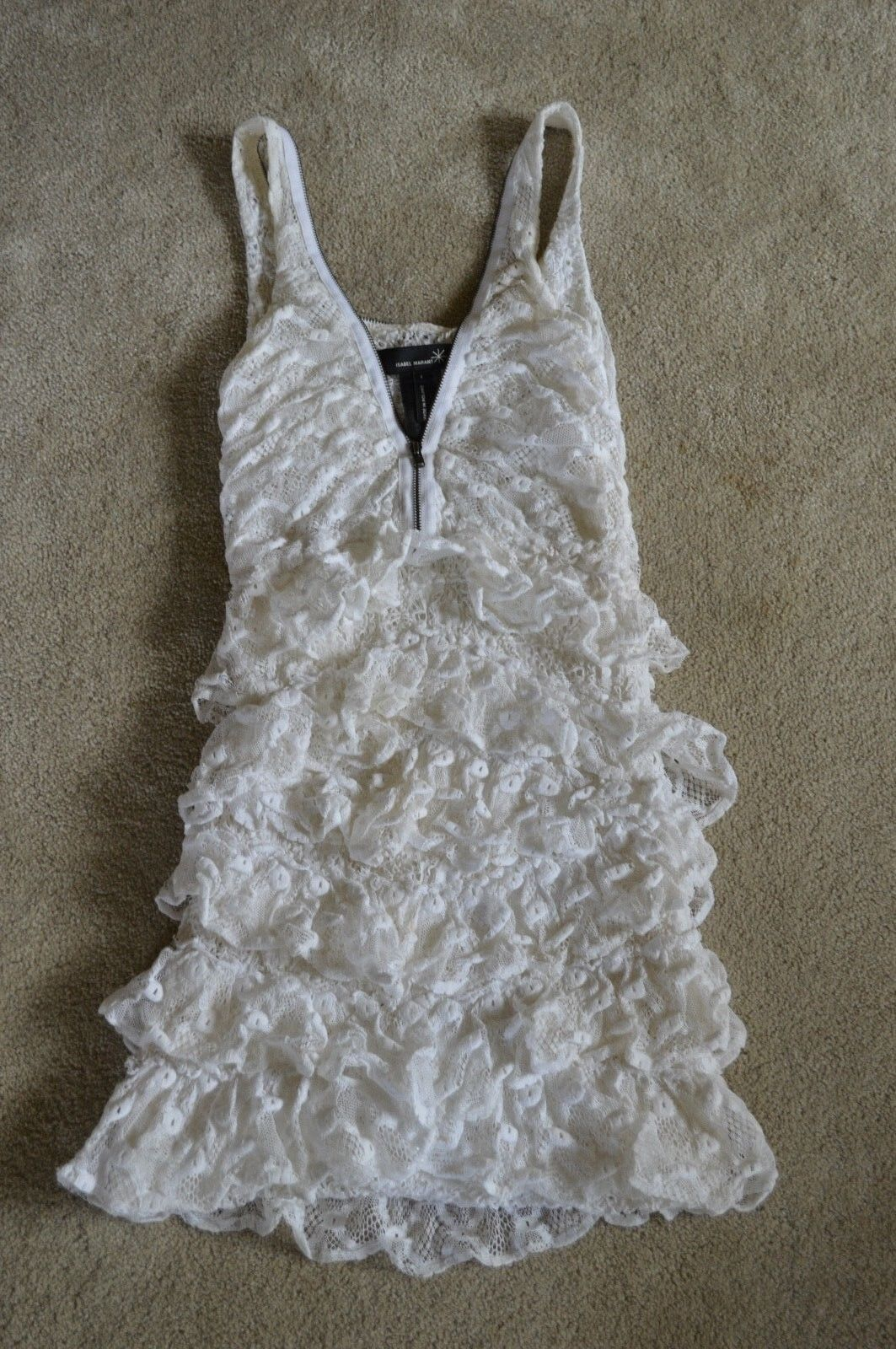 Isabel Marant White Front Zip Shoulder Ruffle Dress Womens Size 1