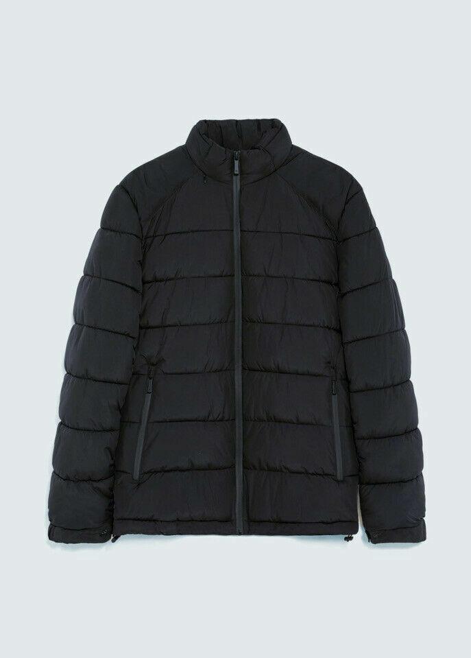 ! nuevo! Zara para hombre Negro Acolchado Puffer Abrigo Chaqueta, tamaño M!