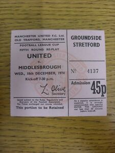 18-12-1974-Ticket-Manchester-United-v-Middlesbrough-Football-League-Cup-Replay