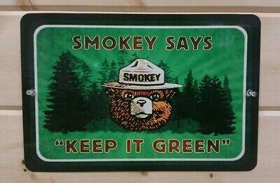 "FOREST SERVICE SMOKEY BEAR MINI STREET SIGN  3/""X12/"" ALL WEATHER METAL U.S"