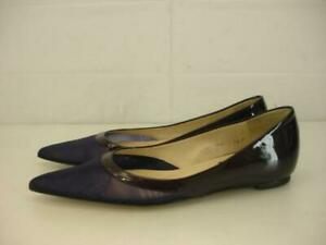 Womens-7-5-M-Kenneth-Cole-New-York-Dark-Purple-Ballet-Flats-Pointed-Patent-Mesh