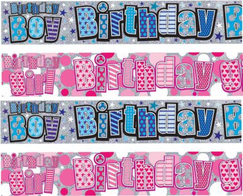 Giant Cumpleaños Niño Niña cualquier edad de Papel de Aluminio Cumpleaños Pancartas Plata Rosa Azul
