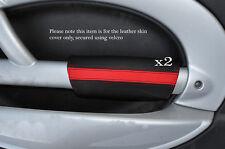 NERO & Rosso 2x PANTHERS PORTA BRACCIOLO IN Pelle Cover Adatta per BMW Mini Cooper 01-03