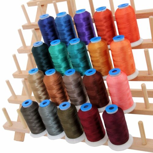 RAYON MACHINE EMBROIDERY THREAD SET 20 DARK COLORS 1000M CONES 40WT
