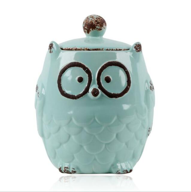 Large Kitchen Ceramic Owl Canister Food Storage Jar For Coffee Sugar Flour Blue