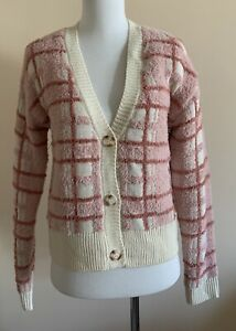 NWT-Lauren-Conrad-Pink-Plaid-Soft-Fuzzy-Button-Down-Cardigan-Sweater-Women-s-XS
