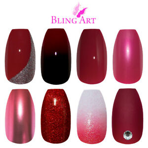 Bling-Art-Coffin-False-Nails-Red-Glitter-Gel-Matte-Fake-Medium-Acrylic-Tips-Glue