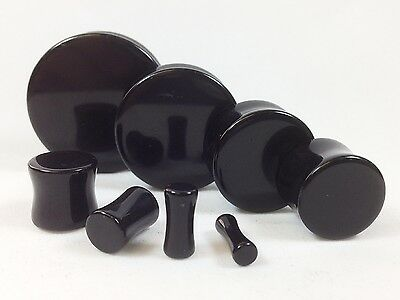 PAIR Black Onyx Organic Stone Plugs Gauges - up to 38mm available!