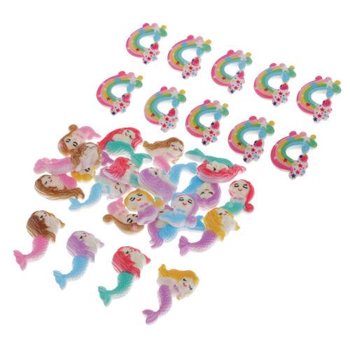 30pcs Resin Flatback Rainbow/&Mermaid Embellishment DIY Scrapbooking Supplies