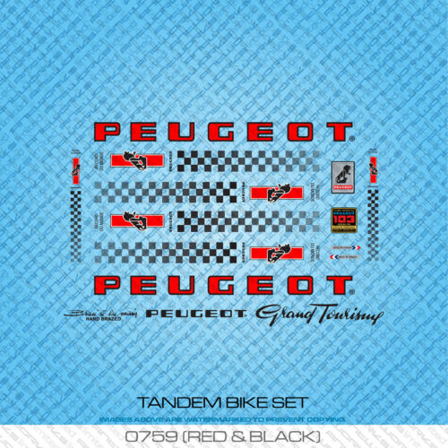Stickers Peugeot Tandem Bicycle Decals Red /& Black Transfers Set 759