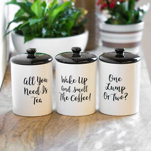 Image Is Loading White Amp Black Tea Coffee Sugar Canisters Set