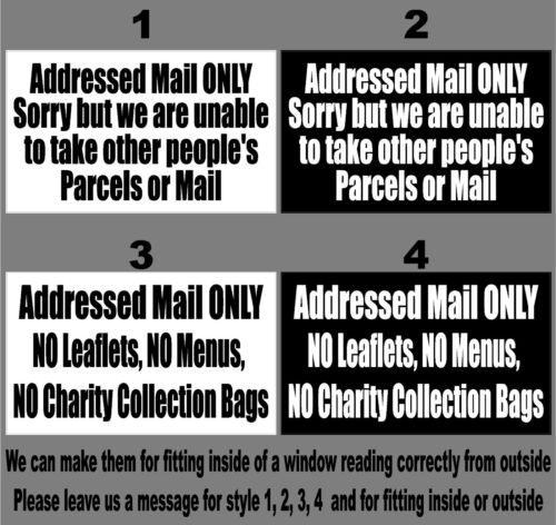 Gráfica Porta Dianteira somente correio destinatárias-Decalque-Adesivo-Janela 3 de aviso
