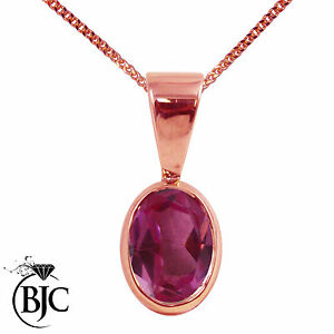 BJC-9ct-Rose-Red-Gold-Natural-Pink-Topaz-Solitaire-Drop-Oval-Pendant-amp-Necklace