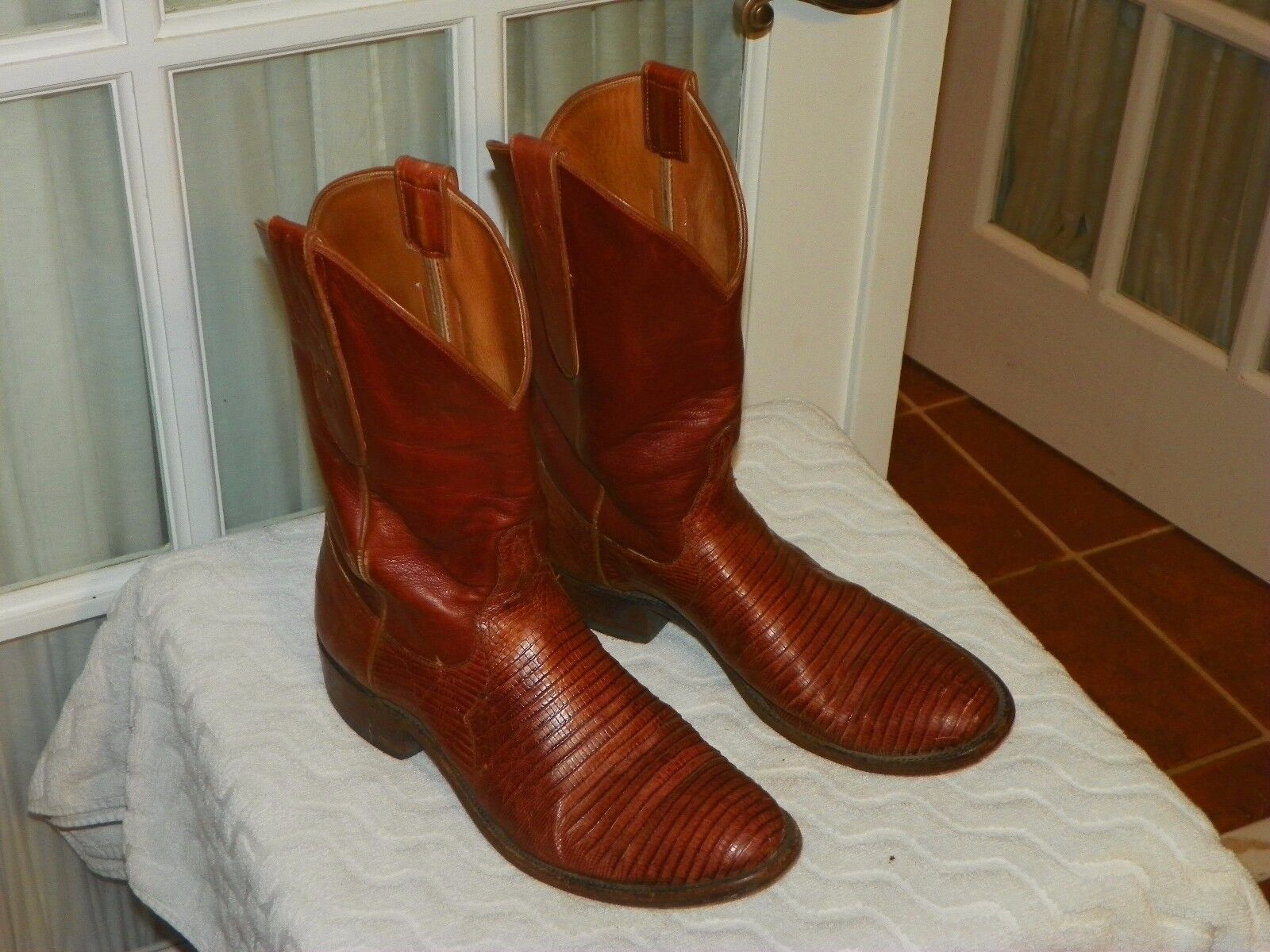 1980s Colt botamakers Marrón Lagarto vaquero occidental botas MENS TAMAÑO D 8.5 hecho en Estados Unidos
