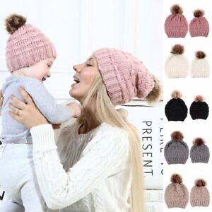 46be36cd140 Women Kids Baby Child Warm Winter Knit Beanie Fur Pom Bobble Hat ...