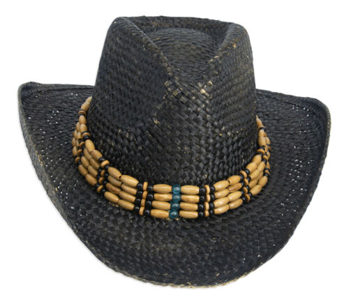 Style Vintage Unisexe Chapeau de cow-boy-Noir Paille Avec Perles Bordure /& Shapeable Brim
