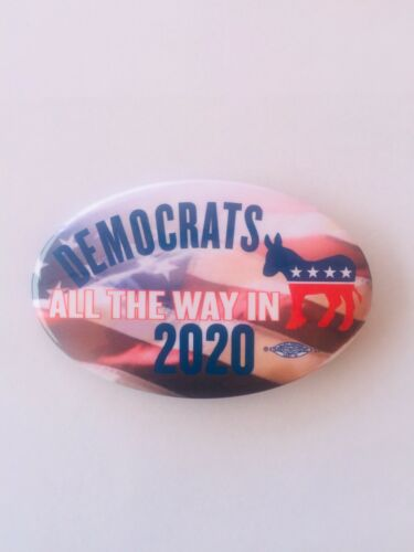 """Set Of 10-1-3//4"""" X 2-3//4"""" Oval Buttons. Democratic 2020 Buttons"""