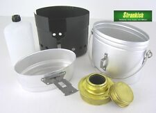 SWEDISH ARMY ALUMINIUM TRANGIA COOKSET WITH SPIRIT BURNER & FUEL BOTTLE