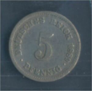 German-Empire-Jagerno-3-1889-e-very-fine-Copper-Nickel-1889-5-Pfennig-7848921