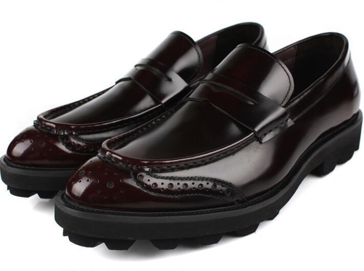 Uomo Thick Sole Genuine Genuine Genuine Pelle Pointy Toe Platform Shoes Slip On Dress Brogues e662bb