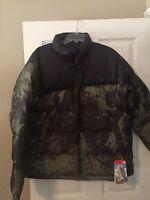 NWT North Face Men's Nuptse Jacket, Camo  Down Coat, Black/Green, Sz XL $220