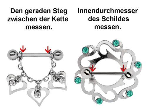 Brust Piercing Hantel mit Kettenbügel und 3 Herz Hängern mit 3 Ketten Größe 16mm