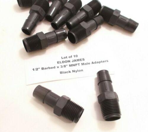 "Black Nylon Lot of 10 ELDON JAMES 1//2/"" Barbed x 3//8/"" MNPT Male Adapter BN"
