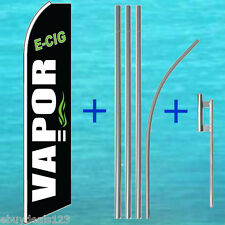 VAPOR E-CIG FLUTTER FLAG + POLE MOUNT KIT Feather Swooper Banner Tall Sign 3044