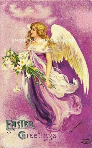 Fabric Block Vintage Easter Postcard Printed onto Fabric Angel Beautiful Lily