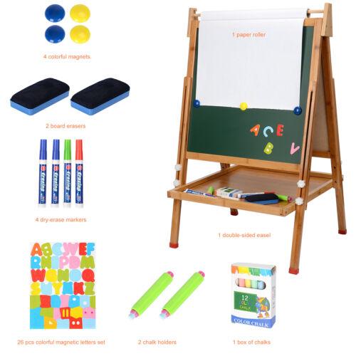2In1 Kids Art Easel Magnetic Wood Standing Easel Erase Drawing Board Chalkboard