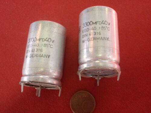 """KONDENSATOR 3300µF 40V= ORG./""""RDE/""""  NOSTALGIE  D=25x38mm   2x   25297 SELTEN"""