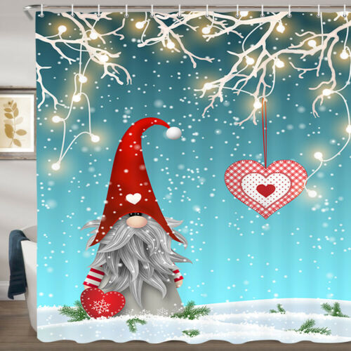 Christmas Elf In Red Hat Shower Curtain Bathroom Decor Fabric /& 12hooks 71/""