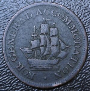 1813-FOR-GENERAL-ACCOMMODATION-HALF-PENNY-TOKEN-Pure-Copper-BR966-AM-1A4