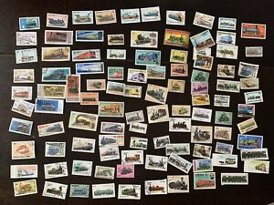 LOT OF 100 TRAIN LOCOMOTIVE STAMPS FROM MANY WW COUNTRIES, LITTLE DUPLICATION