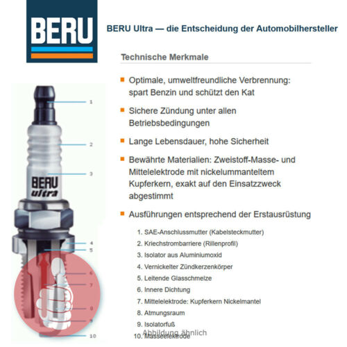 4 X Original BERU Bougie d/'allumage Ultra avec 3-Masse électrodes z121