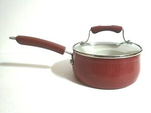 Paula-Deen-1-1-1-2-Quart-Red-Sauce-Pan-Vintage-Flawed