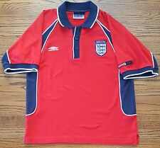 England Umbro Mens 3 Lions Short Sleeve Polo Shirt Small Red Blue White