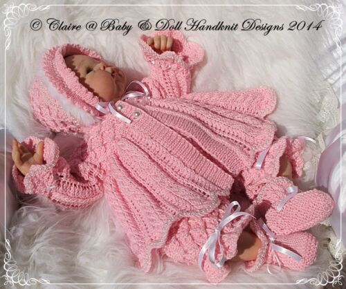 "BABYDOLL HANDKNIT DESIGNS KNITTING PATTERN /'PEARLY PRINCESS/' 16-22/"" DOLL OR 0-3M"