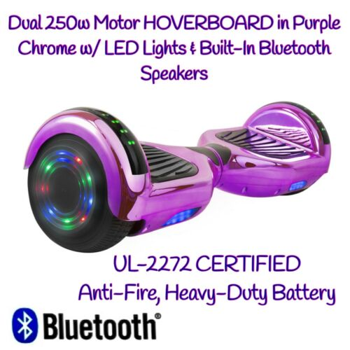 DUAL 250W Motors SELF-BALANCING HOVERBOARD PURPLE CHROME w// BLUETOOTH SPEAKERS