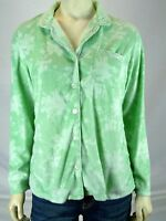 Aria Green White Floral Button Front Sleep Shirt Womens Size Small 4 6