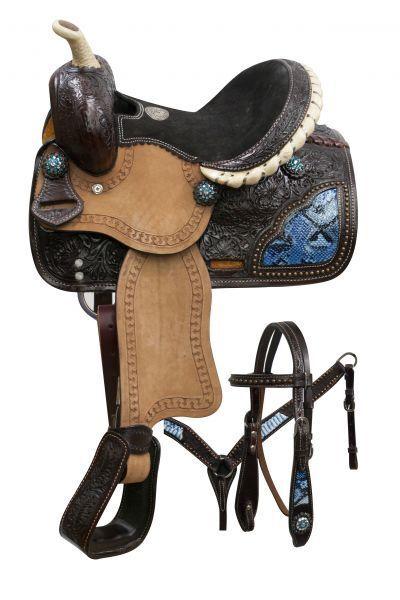10 Double T pony saddle set with blu snake print inlays.